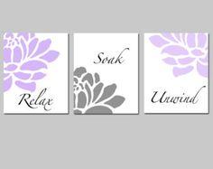 Floral Bathroom Art  Set of Three 8x10 Prints  Relax by Tessyla