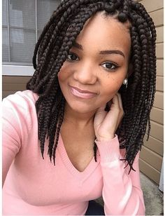 [Chunky box braid medium bob] -- Short box braids style