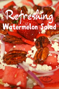 This Watermelon Salad is topped with candied pecans, feta and more crunchy sweet and tasty add-ons. A refreshing fruity sweet and salty summer food. #watermelonrecipe #summersalad Strawberry Watermelon Salad, Watermelon Recipes, Fruit Recipes, Pork Recipes, Summer Recipes, Summer Food, Summer Salads, Candied Pecans For Salad, Salad Toppings