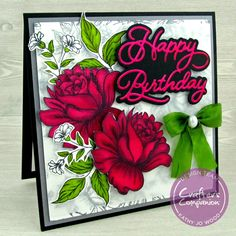 Crafter's Companion soon to be released Happy Birthday die set, Oriental Peony Background stamp, and Spectrum Noir markers were used. Spectrum Noir Markers, Luxury Card, Alcohol Markers, Birthday Design, Crafters Companion, Exciting News, Card Maker, Cool Fonts, Clear Stamps