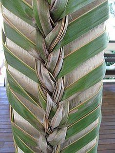 Palm fronds decorating a column
