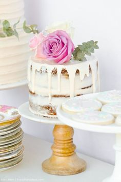 Gorgeous naked cake at a floral chic baby blessing luncheon by Kara Allen | Kara's Party Ideas LDS Blessing Ideas with FREE printables