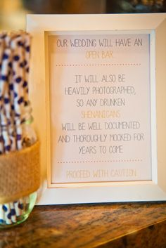 Funny Open Bar Sign // Photo by Martin Haseman Photography