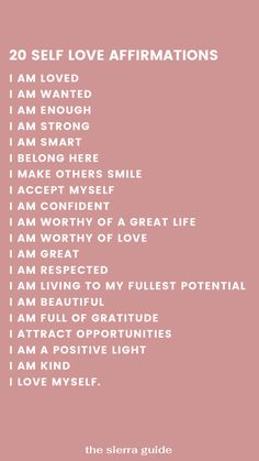 20 Affirmations for Self Love WALLPAPER