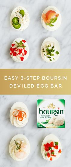 """Make Easter dinner unforgettable with this easy 3-step Boursin Deviled Egg Bar. First, hollow out hard-boiled eggs as if you were making deviled eggs. Next, fill a few bowls with interesting toppings like crab meat, bacon, olives, smoked salmon, jalapeños, or anything else you'd like to try. Finally, add your favorite flavor of Boursin cheese. Your guests will love finding these eggs over and over again."""""""
