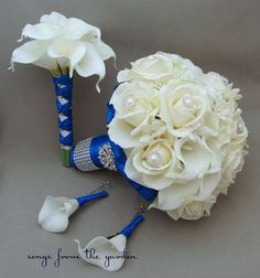 white roses and white lilies wedding bouquet blue - Google Search