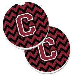 Letter C Chevron Garnet and Black Set of 2 Cup Holder Car Coasters CJ1052-CCARC