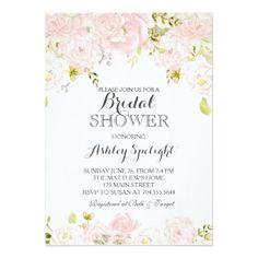 #Bridal Shower pink blush Floral Invitation - rehearsal dinner invitations #rehearsal #dinner #invitations #weddinginvitations #wedding #invitations #party #card #cards #invitation #rehearsaldinner