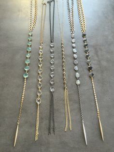 Y necklaces with genuine gemstones. Email lisajilljewelry@gmail.com for purchasing info. Wholesale and retail.
