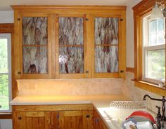 stained glass cabinet doors kitchen with stained glass cabinet doors and tile