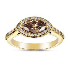 Fink's 14K Yellow Gold Marquise Mocha Diamond Ring