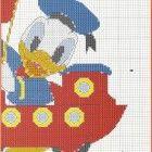 schema punto croce paperino baby da ricamare su accappatoio bambini.