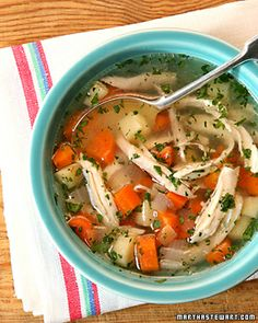 Chicken Soup - Martha Stewart Recipes - could substitute turkey for chicken