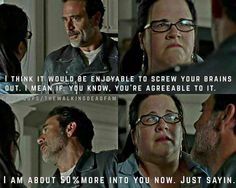 Olivia and Negan I love it! According to Talking Dead, that take was a real slap and it caught JDM off guard.