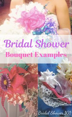 Bridal Shower Bouquet (Bow-K) Ideas and Tutorial Wedding Rehearsal Bouquet, Bridal Shower Bouquet, Bridal Shower Gifts, Bow Bouquet, Bride Bouquets, Making A Bouquet, Wedding Planning, Wedding Ideas, Diy Shower