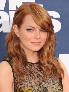 Emma Stone Light Red Hair Emma stone's side-parted