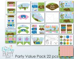 Muddy Puddles Party Printable Value Pack, Instant Download  ***Please read shop policies before purchasing, because a purchase means agreeing to them***  Enjoy the convenience of creating an amazing party atmosphere at home, with this high quality party pack by The Digi Dame. Benefits of this Digi Dame Party Pack:  • Convenient Instant Download • No professional software required - PDF format open with Adobe Reader • DIY personalize your pack • Easily edit and print at home as often as you…