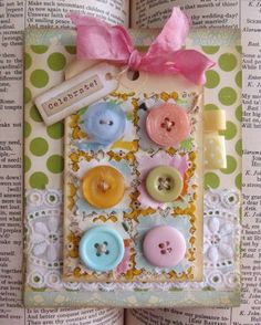 Shabby Chic fabric & buttons handmade card / Etsy