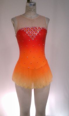 Del Arbour Airbrushed D13B8-N17A Yellow/Red/Orange Skating Dress