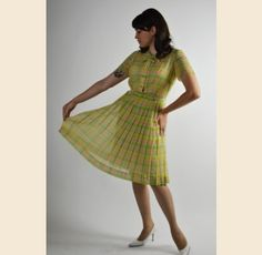 Martha Manning Pastel Plaid Swing Dress - $62.00