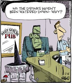 Reality Check Comic - Halloween Witch humor - melted Wicked Witch of the West - No the drinks haven't been watered down - why?
