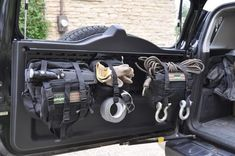 MPAC HD rear door rack with MOLLE bags cargo barrier with quickfist mounts and quick release knobs fj storage Acessórios Jeep Wrangler, Jeep Jk, Jeep Wrangler Unlimited, Jeep Rubicon, Auto Camping, Truck Camping, Wrangler Accessories, Jeep Accessories, Tactical Truck