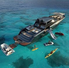 Luxury yacht design interior trip sailing and having private party on super mega boat life style for vacation and wedding on deck with style ond model of black and etc Yacht Design, Super Yachts, Grand Luxe, Cool Boats, Small Boats, Yacht Boat, Sailing Boat, Yacht Club, Speed Boats