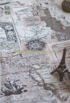 Nautical Marine Retro Sailing Map  Linen etsy