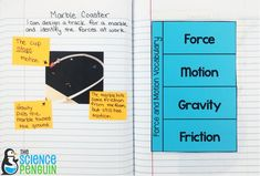 Force and Motion Science Notebook Photos: hands-on vocabulary