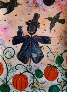 Scarecrow Pumpkins Original Painting Children by CelineArtGalerie, €50.00