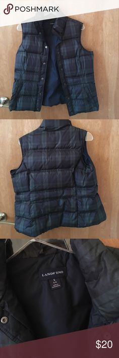 Lands End Plaid Puffer Vest Navy and green plaid puffer vest. Size small. Tag says it fits a 6-8, but is probably closer to a 4-6 if you want room for a sweatshirt or sweater comfortably. Snap closure. Good used condition. Lands' End Jackets & Coats Vests