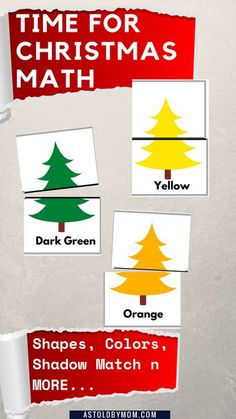 Activities involve innovative matching, sorting, counting shapes, aphabets on the Christmas Theme. No Preparation, print n go printables. Christmas trees puzzles of Colors, Shapes & Shadows n MORE #printables #christmas #preschool #kindergarten #color #shapes #math #centers Preschool Christmas Activities, Fun Activities For Toddlers, Preschool Writing, Preschool Kindergarten, Christmas Math, Christmas Themes, Christmas Crafts, Christmas Stuff, Preschool Colors