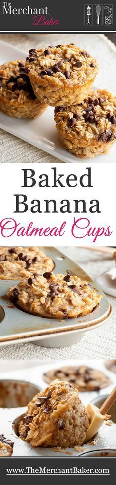 Baked Banana Oatmeal Cups A hearty and healthy oatmeal that you can make ahead Baked in individual cups so they're an easy grab and go breakfast! is part of Baked banana - Healthy Sweets, Healthy Baking, Healthy Snacks, Healthy Kids, Healthy Recipes, Healthy Drinks, Liver Recipes, Healthy Cake, Healthy Muffins