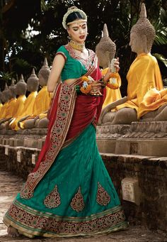 """#Ganesh #Chaturthi #Special ! """"#Rama #Net flared #SemiStitch #lehenga designed with #Resham #Embroidery And Lace Work With Butta Work. As shown in the photo Rama Net choli is available. (Choli shown on model is for photography purpose.) #Maroon #Chiffon #dupatta comes along with this. The Semi Stitch choli/blouse size is Semi Stitch and lehenga waist size is 44"""""""" inches. The length of the lehenga is 44"""""""" inches. INR: 2226.00 Only With #Exciting #Offers Grab at http://tinyurl.com/jdk9jah #Le"""