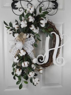 Southern Cotton Boll wreath Cotton wreath by CottageHouseWreaths