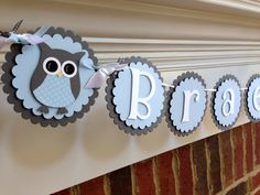 Owl Baby Shower or Birthday Banner - Personalized with name
