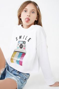 Girls Smile Graphic Top (Kids)