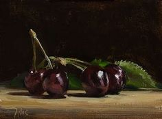 Deborah Lawrenson: Cherries from Chauvet's Orchard - painting by Julian Merrow-Smith