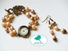 Set ceas si cercei Pietre semipretioase: perle de cultura Inchizatoare tip frunza Bracelet Watch, Handmade Jewelry, Passion, Drop Earrings, Watches, Bracelets, Accessories, Bangles, Wristwatches