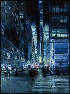 """The Traditional Work of Jeremy Mann - """"New York Night in Blue"""" - Oil on Panel - 48 x 36 inches - The John Pence Gallery"""