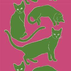 Dieser Marimekko-Stoff zeigt Katzen, die zusammen ein einzigartiges Tiermotiv darstellen, das auf die Designerin Erja Hirvi zurückgeht. Bestellbar in verschiedenen Farbstellungen.