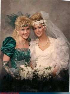 1980s bride with her maid-of-honor