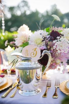 Unique Tea Inspired Table Numbers // Glam Vineyard Inspired Styled Shoot // Dana…