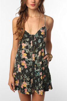 floral dress--pretty short but I like it anyway--could wear leggings/tights or even long shorts underneath