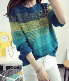 Fashion Winter Gradient Color Long Sleeve Loose Sweater on Luulla