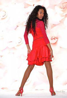 Natural Spin Signature Latin Skirt:  LS05_RED