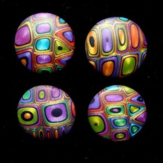 Carol L Simmons Buttons - These buttons were made by the same technique as the jeweled eggs. [Polymer clay - I want to know by whom and where the tutorial is for these beads!]