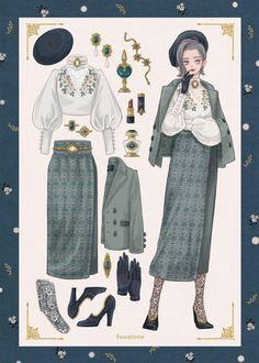 Vintage Fashion Sketches, Fashion Design Drawings, Anime Outfits, Old Fashion Dresses, Fashion Outfits, Fashion Advice, Dress Fashion, Stylish Outfits, Fashion Ideas