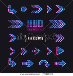 Set of arrows, pointers, direction. Set of holographic arrows, pointers, direction for infographics. Effect glitch or neon or hologram.Tech and science theme. Game Interface, Interface Design, Game Ui Design, Icon Design, Pixel Art, Wattpad Book Covers, Cyberpunk Art, Futuristic Design, Technology Design