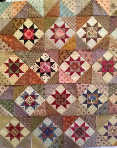 Hello Everyone, Remember this quilt? I made ten more blocks yesterday and started sewing the rows together last night. If I turn th. Sampler Quilts, Amish Quilts, Star Quilts, Scrappy Quilts, Quilt Blocks, Star Blocks, Antique Quilts, Vintage Quilts, Vintage Sewing